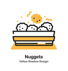 Chicken nuggets lineal color vector