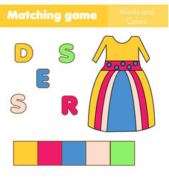 Children educational game words puzzle match by vector