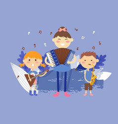 Children playing musical instruments vector