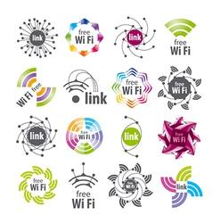 Collection logos wifi connection vector