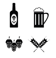 Collection of beer icons set vector