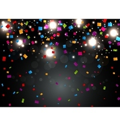 colorful confetti with light on night background vector image