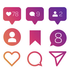 colorful like icons follower commets location vector image