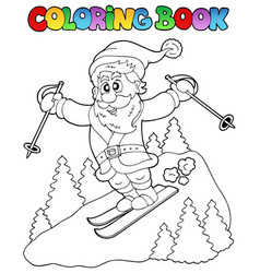 coloring book santa claus topic 3 vector image