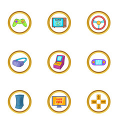 Computer game icon set cartoon style vector