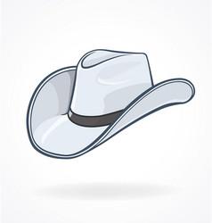 cowboy stetson hat white vector image