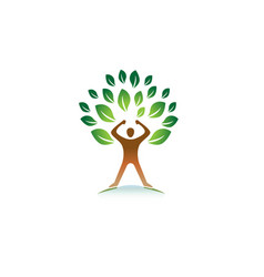 Creative hero person gym green tree logo vector