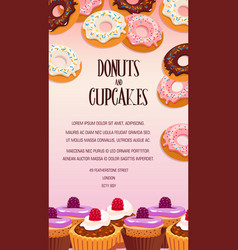 Cupcake and donut pastry dessert banner design vector