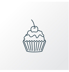 cupcake icon line symbol premium quality isolated vector image
