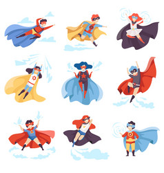 cute kids wearing superhero costumes set super vector image