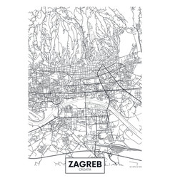 Detailed poster city map zagreb vector
