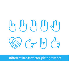 different hands pictogram set different lineart vector image