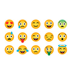 emoji set cute funny emotional icons vector image