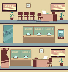 Empty bank office interior vector