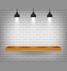 Empty wooden shelf isolated on gray brick wall vector