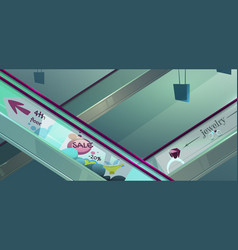 escalators in mall with advertising vector image