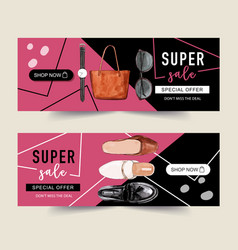 Fashion banner design with watch bag shoes vector