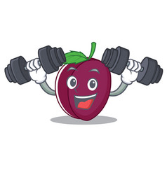 fitness plum character cartoon style vector image