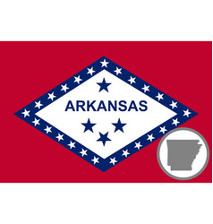 Flag and map arkansas vector