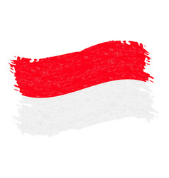 Flag of indonesia grunge abstract brush stroke vector