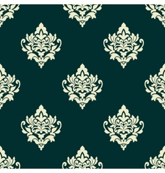Floral light green damask seamless pattern vector image