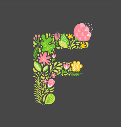 floral summer letter f flower capital wedding vector image