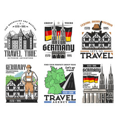 German architecture travel landmark icons vector
