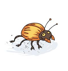 Giant bug cartoon hand drawn image vector