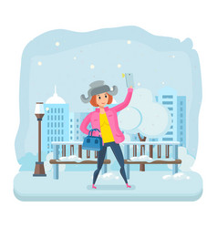 girl in winter clothes with a phone in his hand vector image