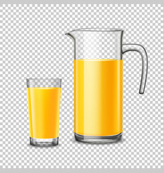 Glass And Pitcher With Orange Juice On Transparent vector