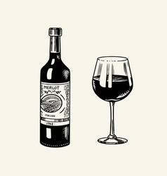 glass red wine and glass bottle still life vector image