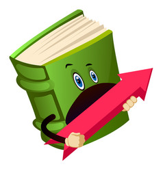 Green book holding a red arrow in hand on white vector