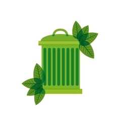 Green trash bin with leaves vector