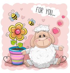 Greeting card cute cartoon sheep with flower vector