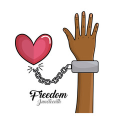 Hand up with chain and heart to celebrate freedom vector