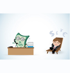 Happy businessman and money working vector