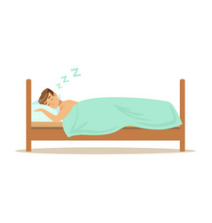 Happy man character sleeping in his bed people vector