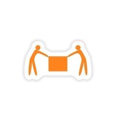 Icon sticker realistic design on paper porters box vector