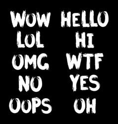 Internet slang brush lettering vector