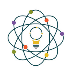 light bulb and atom aroud colorful silhouette on vector image
