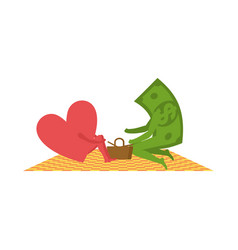 love and money on picnic selling love dollar and vector image