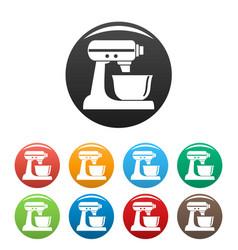 machine mixer icons set color vector image