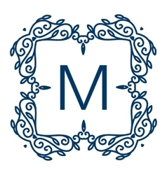 Monogram design floral outline frame or vector image