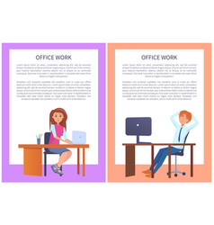 office work poster man woman at workplace vector image