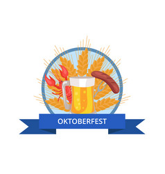 oktoberfest logo design with glass of beer grill vector image