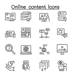 online content icon set in thin line style vector image