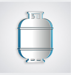 Paper cut propane gas tank icon isolated on grey vector