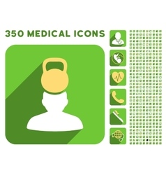 Patient Stress Icon and Medical Longshadow Icon vector