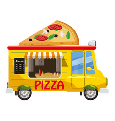 Pizza van mobile snack icon cartoon style vector