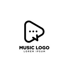 Play chat logo template music icon logo design vector